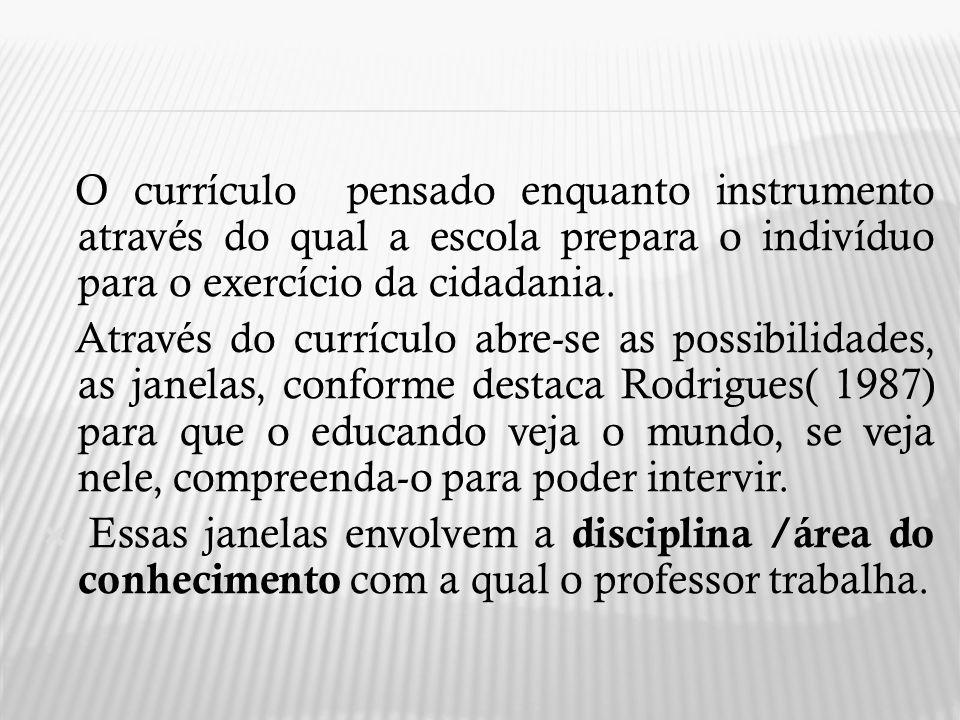 O currículo pensado enquanto instrumento através do qual a escola prepara o indivíduo para o exercício da cidadania.