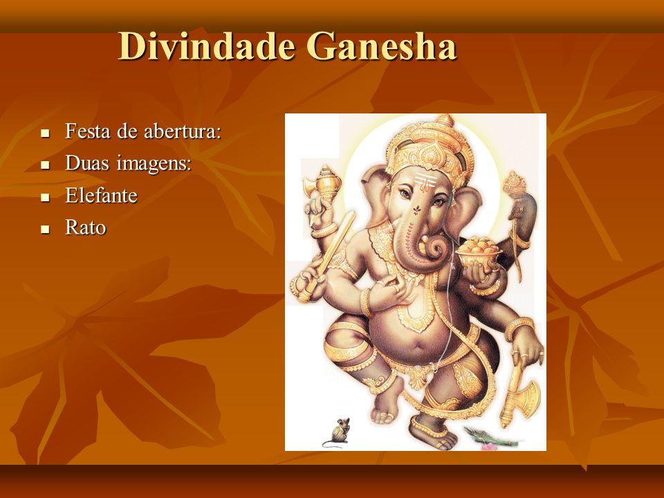 Divindade Ganesha Festa de abertura: Duas imagens: Elefante Rato