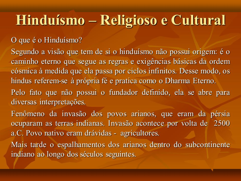 Hinduísmo – Religioso e Cultural