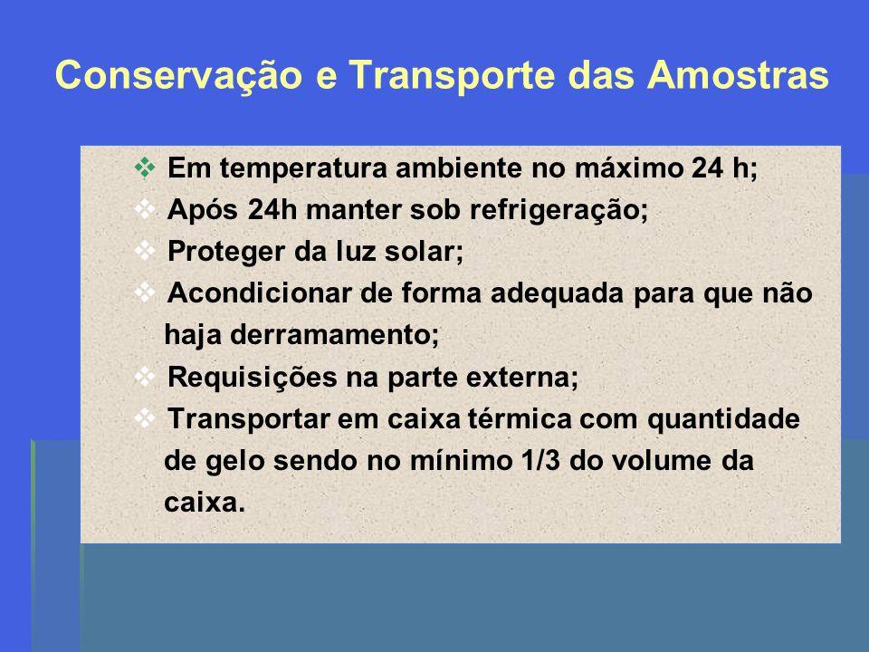 Conservação e Transporte das Amostras