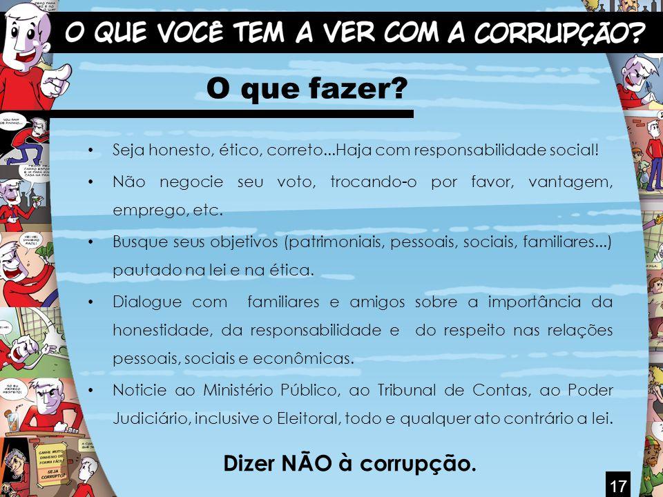 O que fazer Dizer NÃO à corrupção. 17