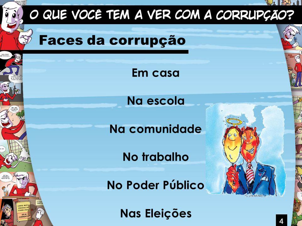 Faces da corrupção Em casa Na escola Na comunidade No trabalho