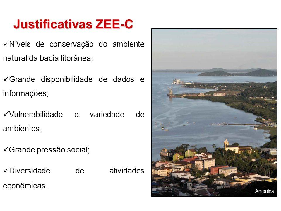 Justificativas ZEE-C Níveis de conservação do ambiente natural da bacia litorânea; Grande disponibilidade de dados e informações;