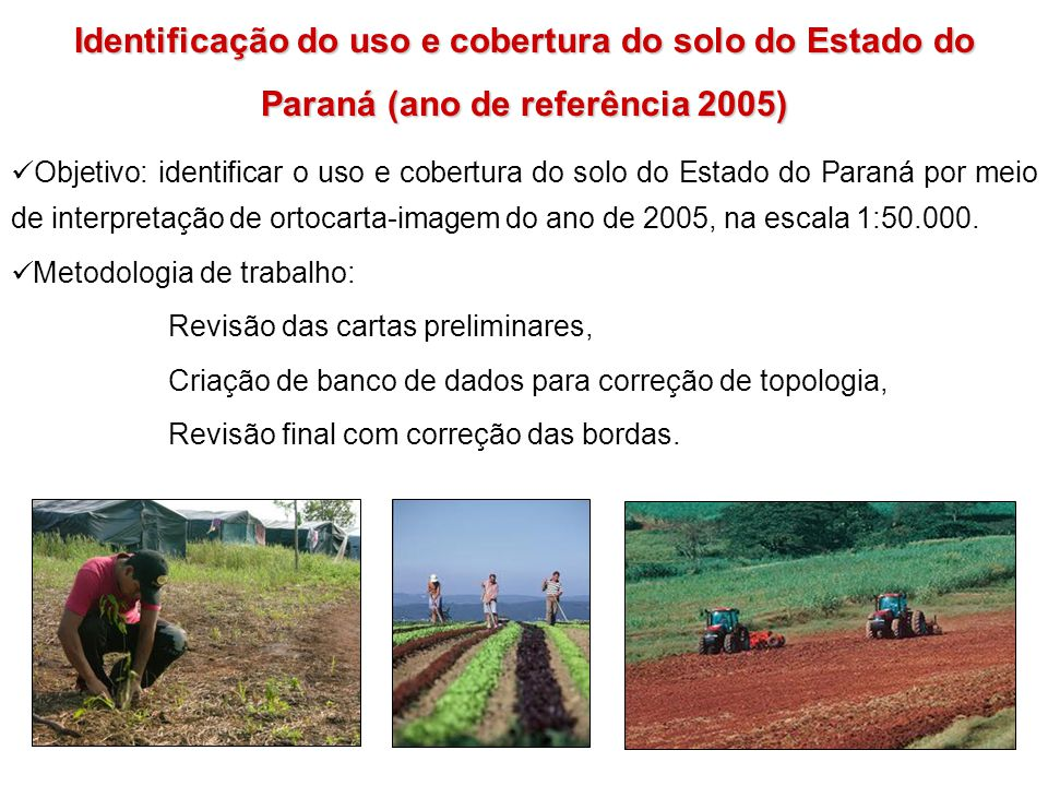 Identificação do uso e cobertura do solo do Estado do Paraná (ano de referência 2005)