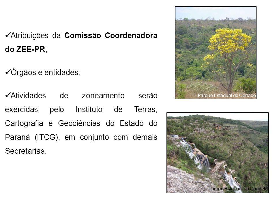 Atribuições da Comissão Coordenadora do ZEE-PR;