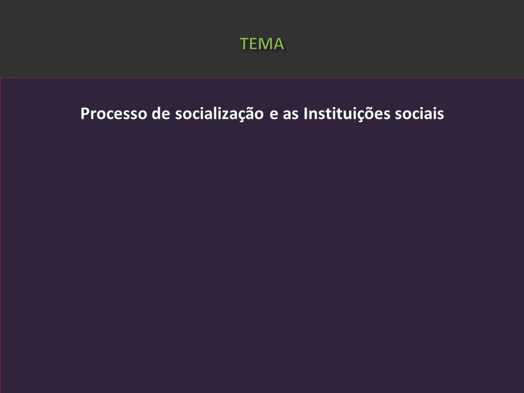 Processo de socialização e as Instituições sociais