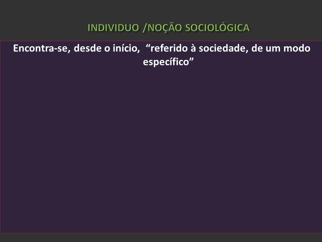 INDIVIDUO /NOÇÃO SOCIOLÓGICA