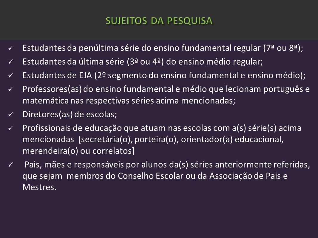 SUJEITOS DA PESQUISA Estudantes da penúltima série do ensino fundamental regular (7ª ou 8ª);