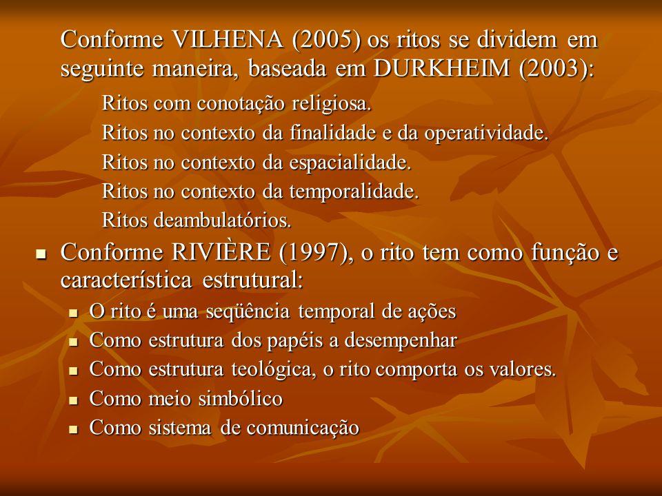 Conforme VILHENA (2005) os ritos se dividem em seguinte maneira, baseada em DURKHEIM (2003):