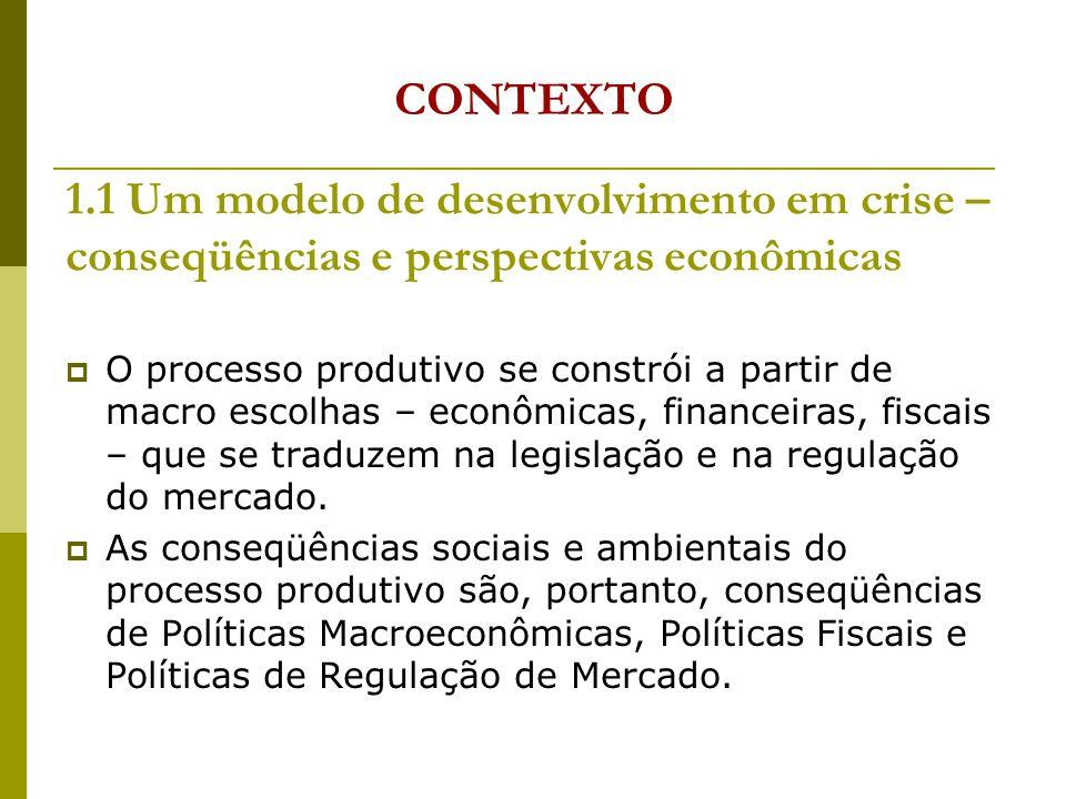 CONTEXTO 1.1 Um modelo de desenvolvimento em crise – conseqüências e perspectivas econômicas.