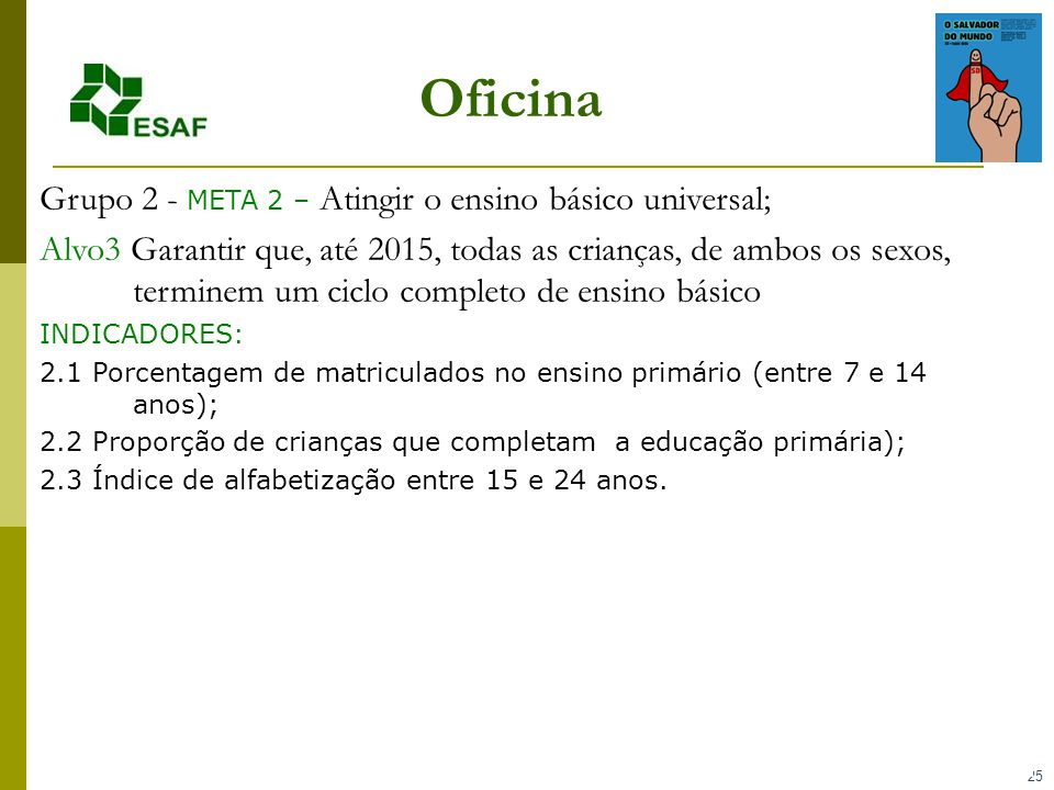 Oficina Grupo 2 - META 2 – Atingir o ensino básico universal;