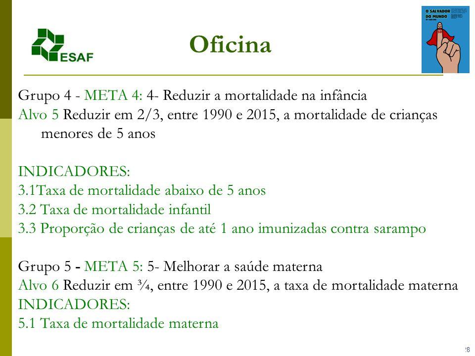 Oficina Grupo 4 - META 4: 4- Reduzir a mortalidade na infância