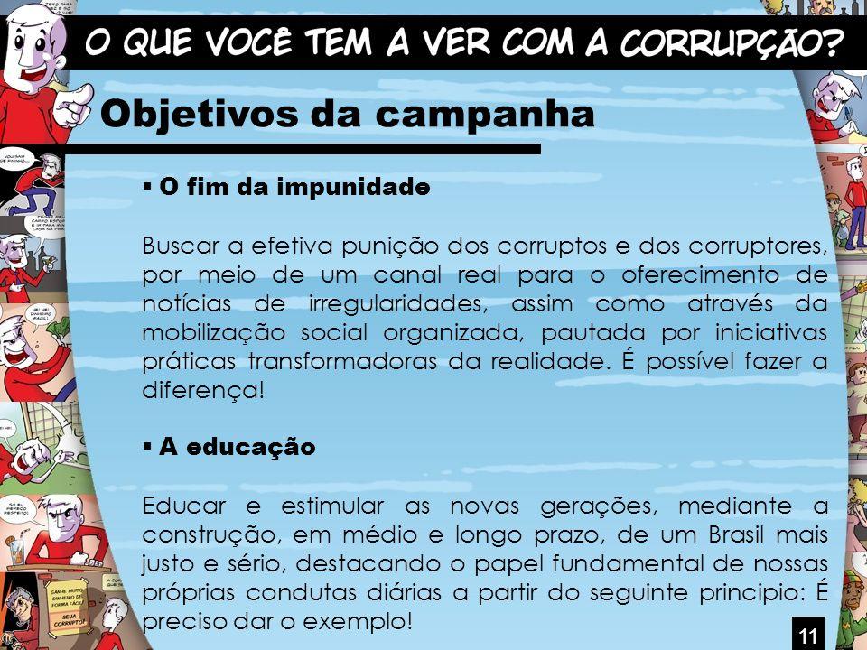 Objetivos da campanha O fim da impunidade