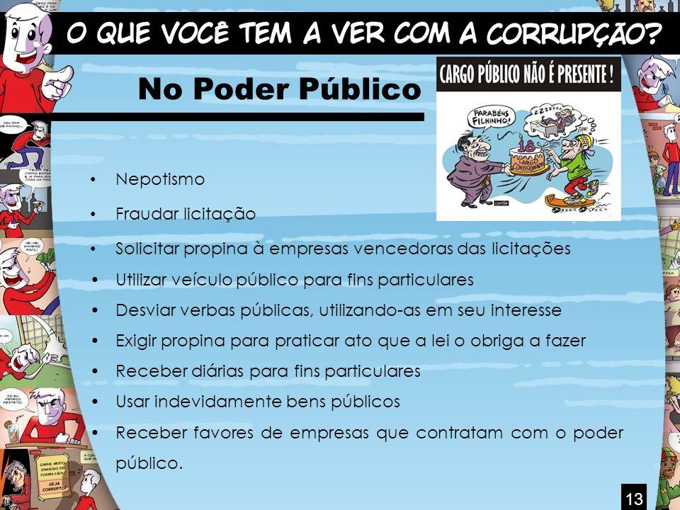 No Poder Público Nepotismo Fraudar licitação