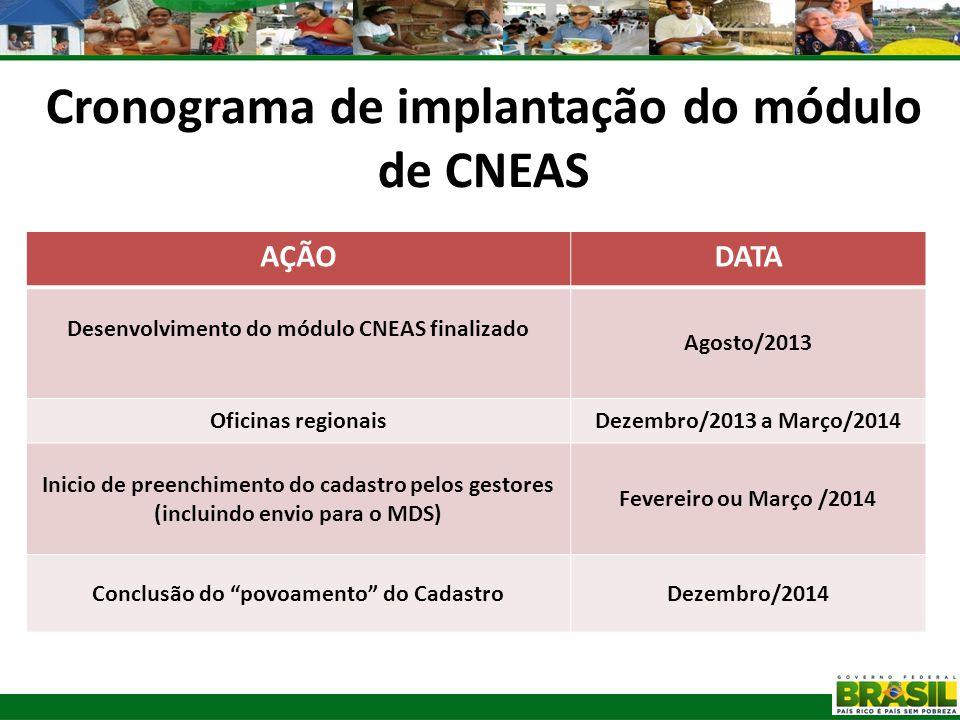 Cronograma de implantação do módulo de CNEAS