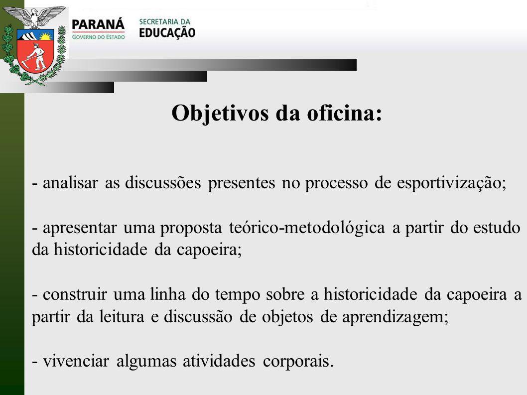 Objetivos da oficina: - analisar as discussões presentes no processo de esportivização;