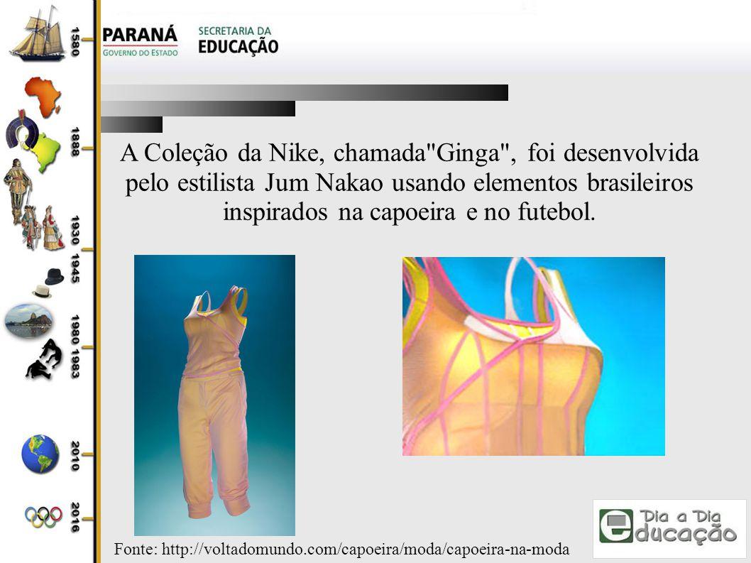 A Coleção da Nike, chamada Ginga , foi desenvolvida pelo estilista Jum Nakao usando elementos brasileiros inspirados na capoeira e no futebol.