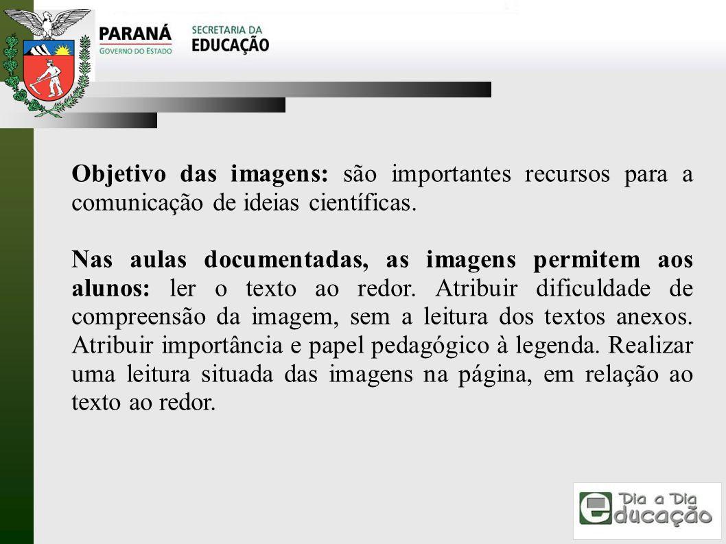 Objetivo das imagens: são importantes recursos para a comunicação de ideias científicas.