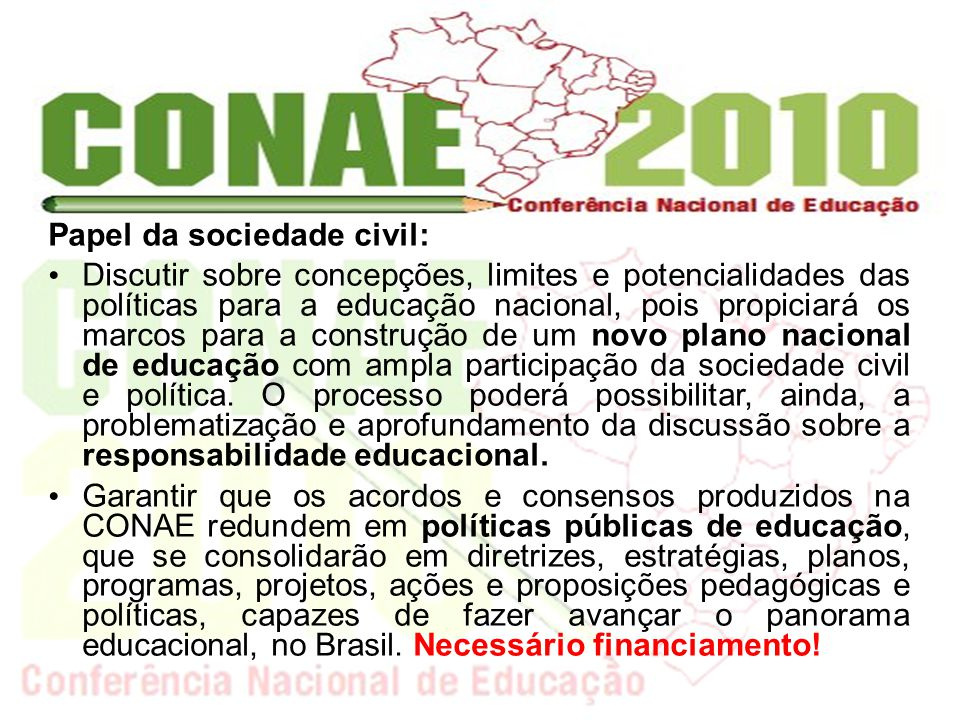 Papel da sociedade civil: