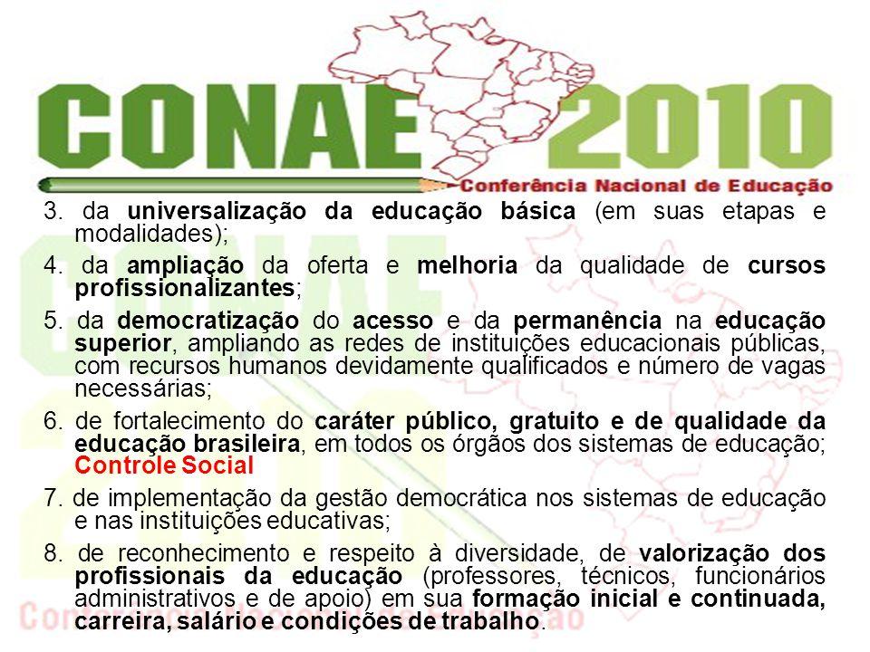 3. da universalização da educação básica (em suas etapas e modalidades);