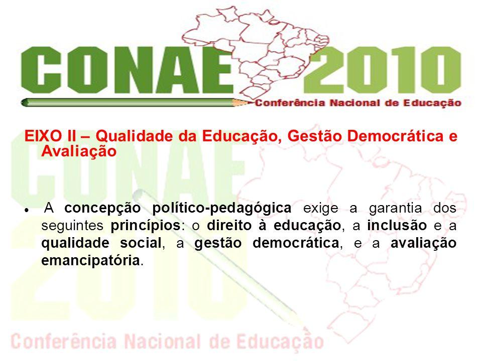 EIXO II – Qualidade da Educação, Gestão Democrática e Avaliação