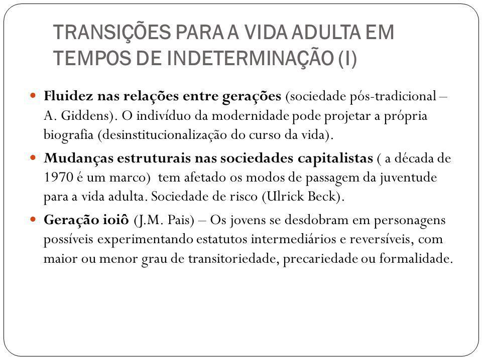 TRANSIÇÕES PARA A VIDA ADULTA EM TEMPOS DE INDETERMINAÇÃO (I)
