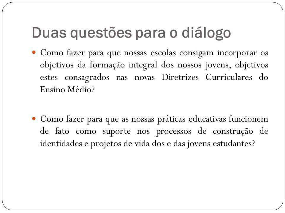 Duas questões para o diálogo