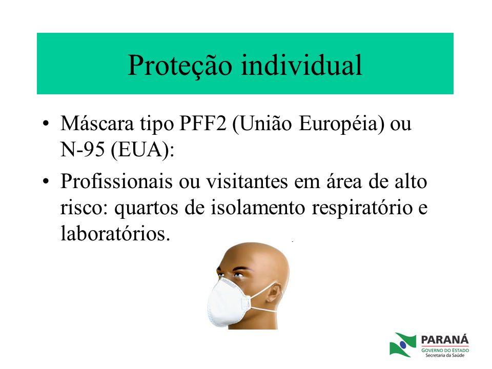 Proteção individual Máscara tipo PFF2 (União Européia) ou N-95 (EUA):
