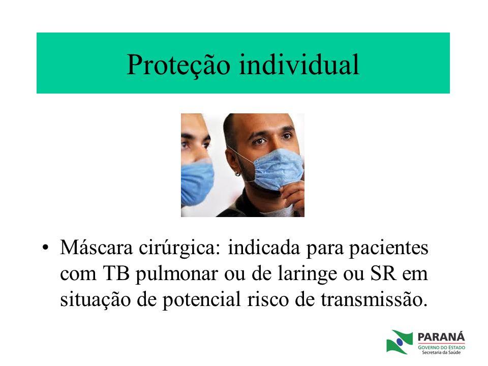 Proteção individual Máscara cirúrgica: indicada para pacientes com TB pulmonar ou de laringe ou SR em situação de potencial risco de transmissão.