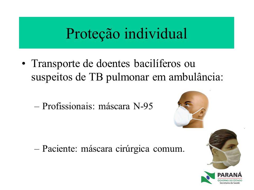 Proteção individual Transporte de doentes bacilíferos ou suspeitos de TB pulmonar em ambulância: Profissionais: máscara N-95.
