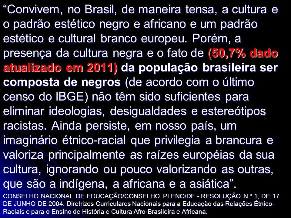 Convivem, no Brasil, de maneira tensa, a cultura e o padrão estético negro e africano e um padrão estético e cultural branco europeu. Porém, a presença da cultura negra e o fato de (50,7% dado atualizado em 2011) da população brasileira ser composta de negros (de acordo com o último censo do IBGE) não têm sido suficientes para eliminar ideologias, desigualdades e estereótipos racistas. Ainda persiste, em nosso país, um imaginário étnico-racial que privilegia a brancura e valoriza principalmente as raízes européias da sua cultura, ignorando ou pouco valorizando as outras, que são a indígena, a africana e a asiática .