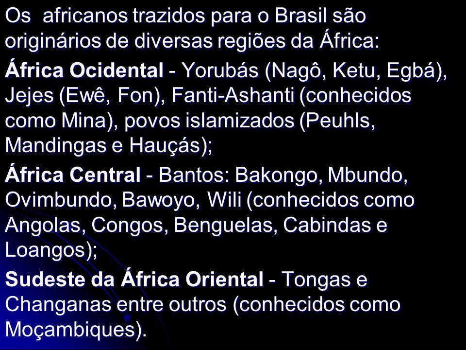 Os africanos trazidos para o Brasil são originários de diversas regiões da África: