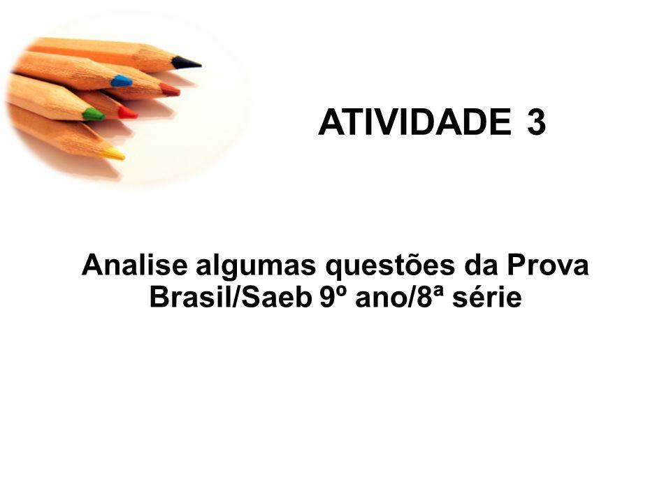 Analise algumas questões da Prova Brasil/Saeb 9º ano/8ª série