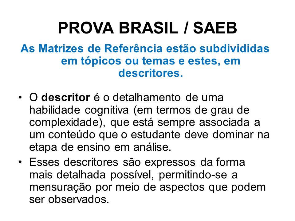 PROVA BRASIL / SAEB As Matrizes de Referência estão subdivididas em tópicos ou temas e estes, em descritores.