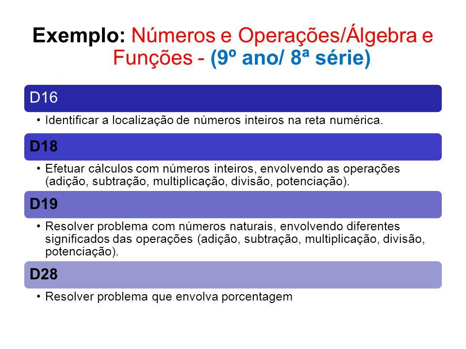 Exemplo: Números e Operações/Álgebra e Funções - (9º ano/ 8ª série)