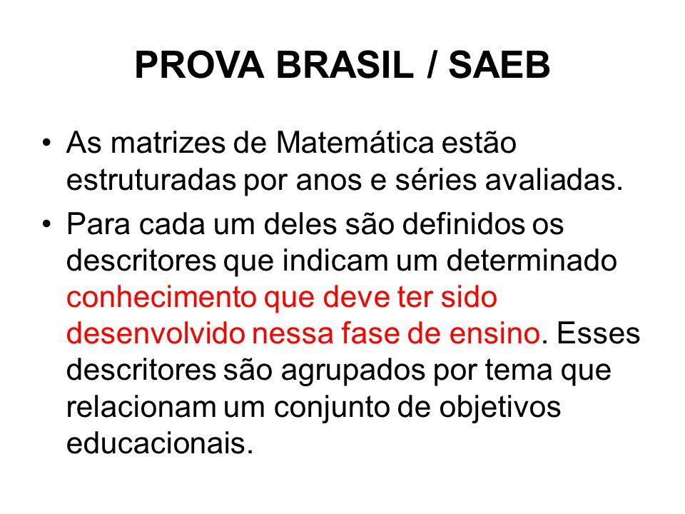 PROVA BRASIL / SAEB As matrizes de Matemática estão estruturadas por anos e séries avaliadas.