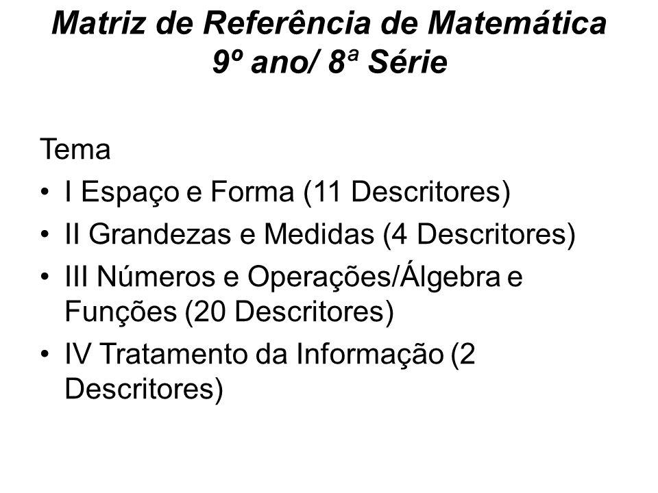Matriz de Referência de Matemática 9º ano/ 8ª Série