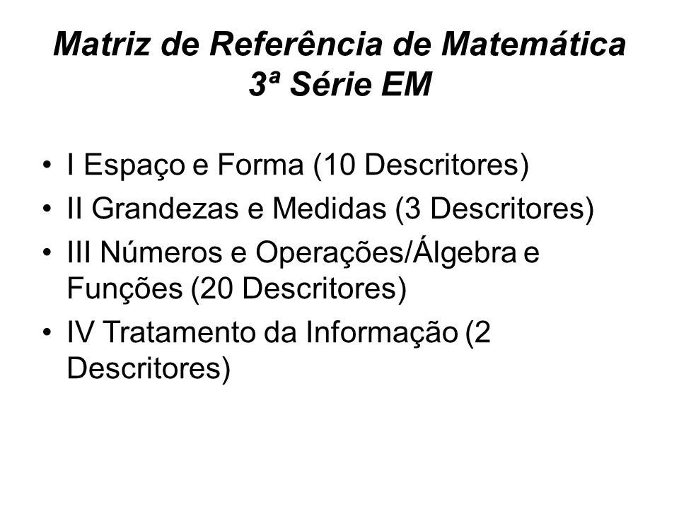 Matriz de Referência de Matemática 3ª Série EM