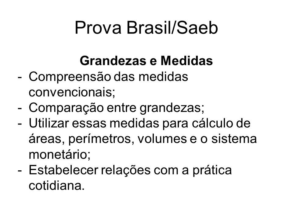 Prova Brasil/Saeb Grandezas e Medidas