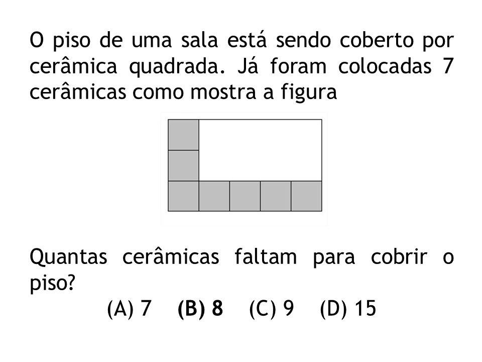 Quantas cerâmicas faltam para cobrir o piso (A) 7 (B) 8 (C) 9 (D) 15