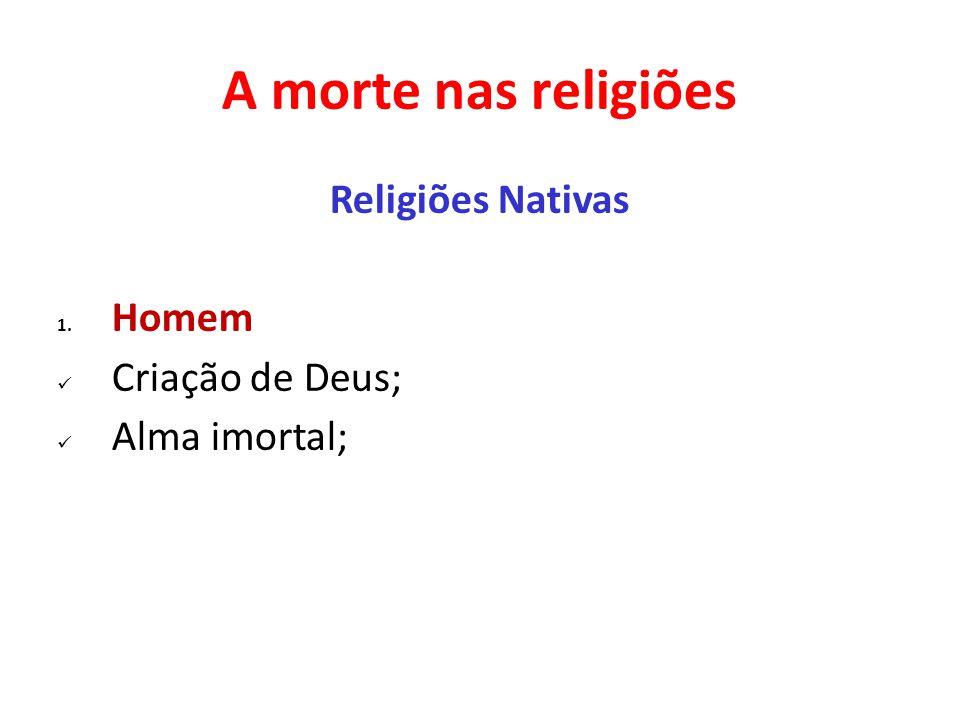 A morte nas religiões Religiões Nativas Homem Criação de Deus;