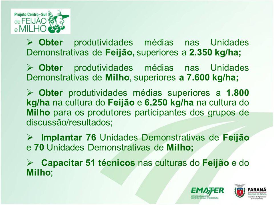 Obter produtividades médias nas Unidades Demonstrativas de Feijão, superiores a 2.350 kg/ha;