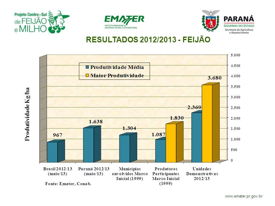 RESULTADOS 2012/2013 - FEIJÃO www.emater.pr.gov.br