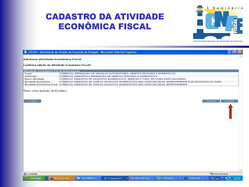 ATRIBUIÇÃO DA CNAE - Fiscal