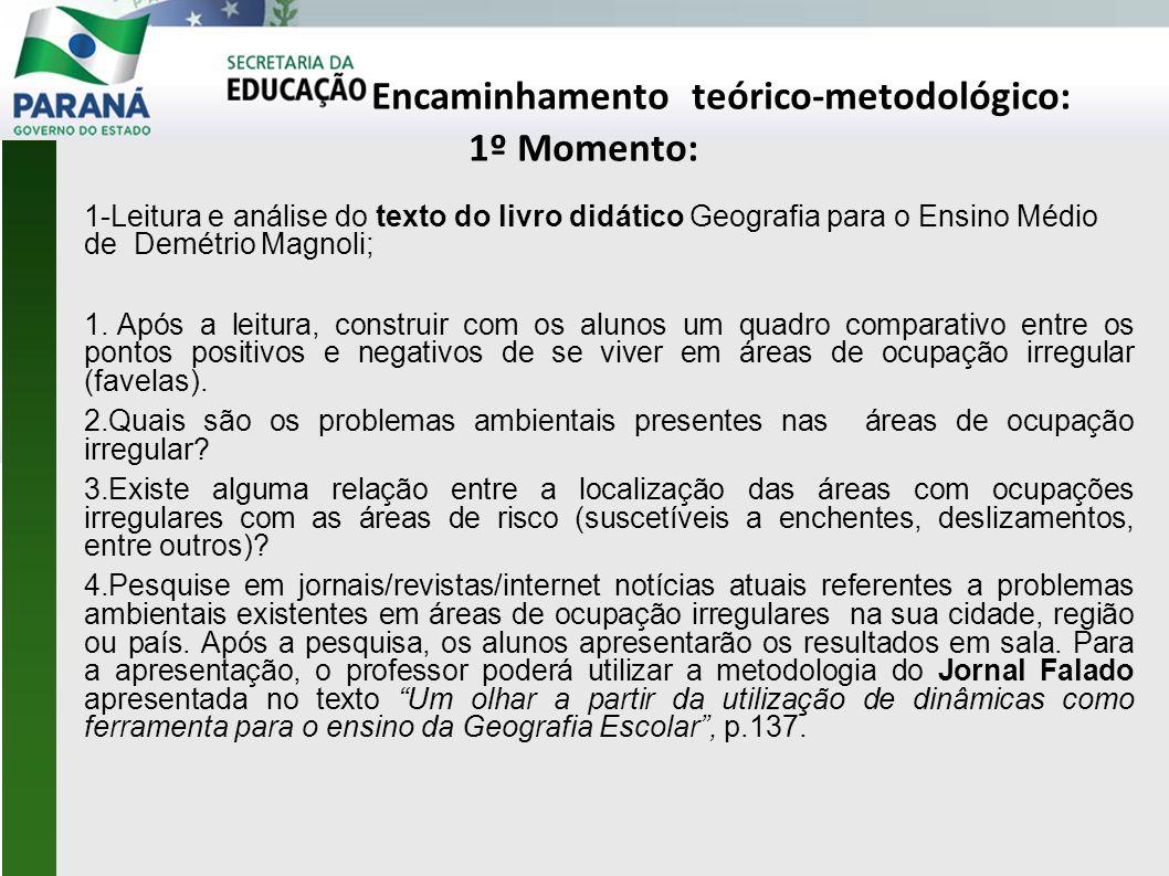 Encaminhamento teórico-metodológico: 1º Momento: