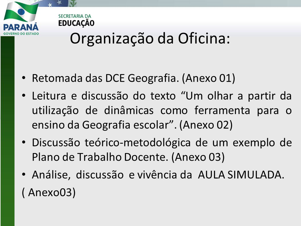 Organização da Oficina: