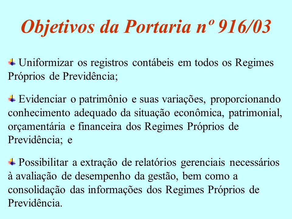 Objetivos da Portaria nº 916/03