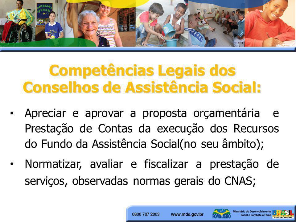 Competências Legais dos Conselhos de Assistência Social: