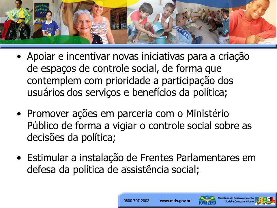 Apoiar e incentivar novas iniciativas para a criação de espaços de controle social, de forma que contemplem com prioridade a participação dos usuários dos serviços e benefícios da política;