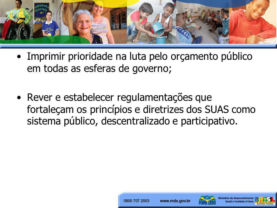 Imprimir prioridade na luta pelo orçamento público em todas as esferas de governo;